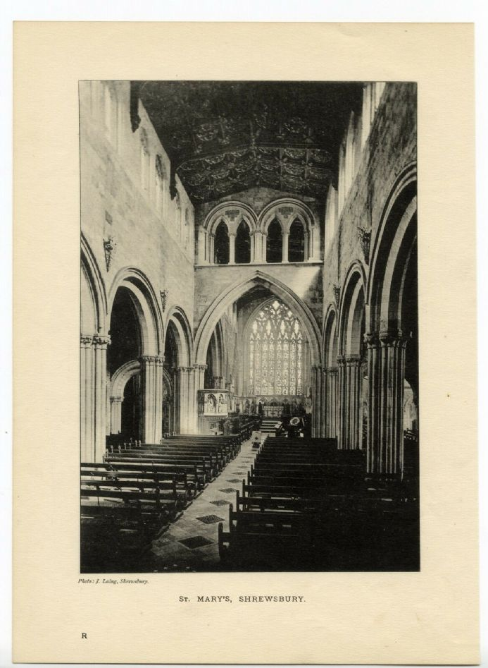 1896 Antique Print SHREWSBURY St. Marys INTERIOR CHURCH Nave PEWS